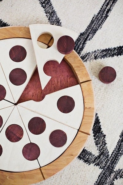 Handmade Wooden Pizza Puzzle