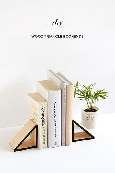 SImple Wood Triangle Bookends