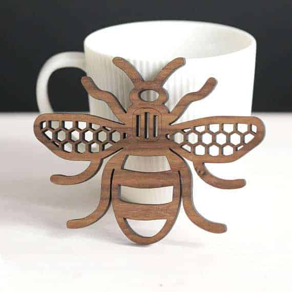 Laser cut Manchester Bee coaster