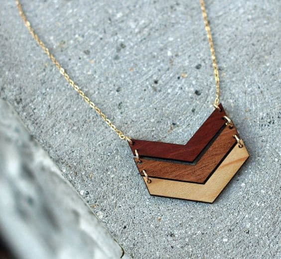 Laser cut Chevron necklace
