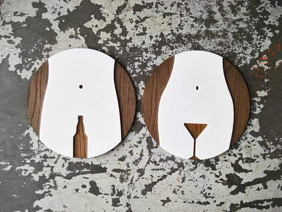 Laser cut bathroom signs