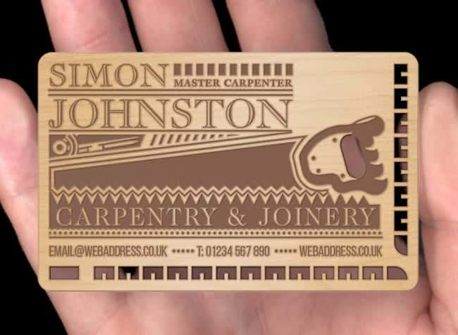 laser cut wooden business card