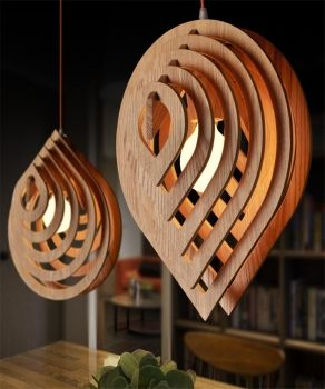 laser cut wooden lamps