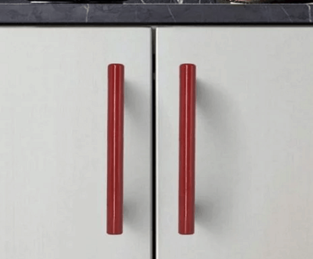 red drawer pulls
